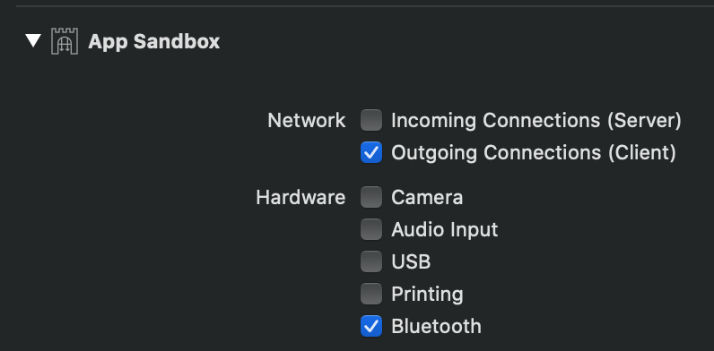 Bluetooth sandbox screenshot