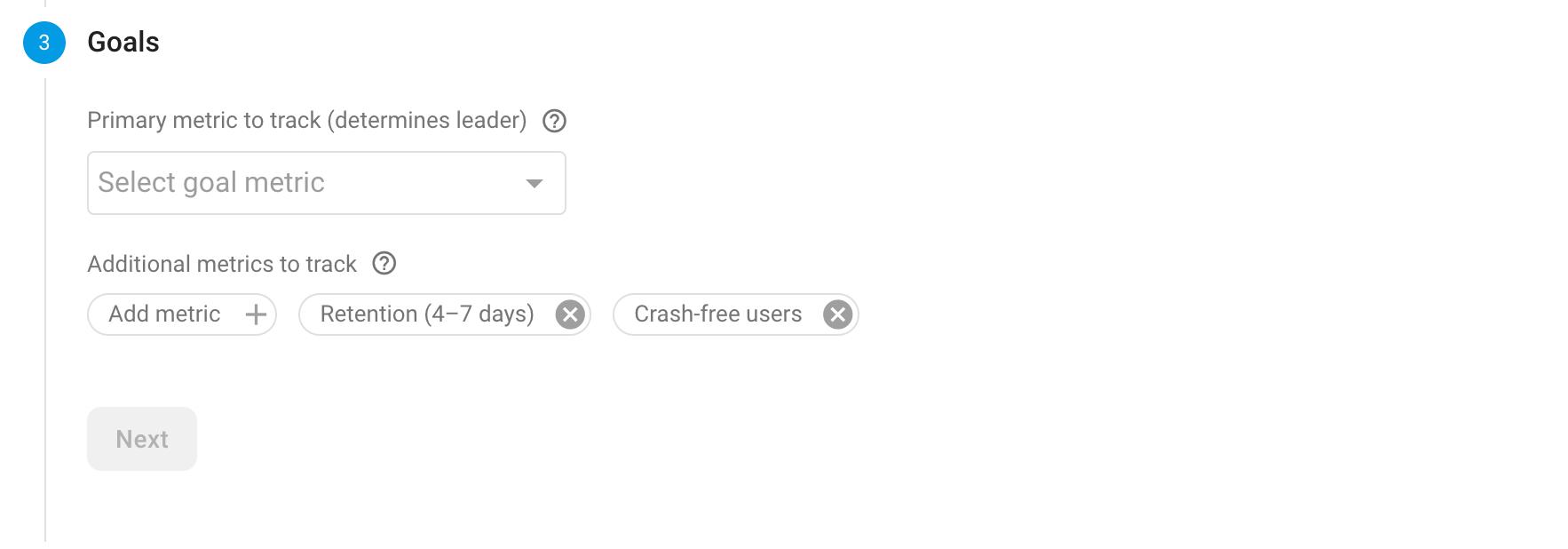 Remote A/B testing goals screenshot