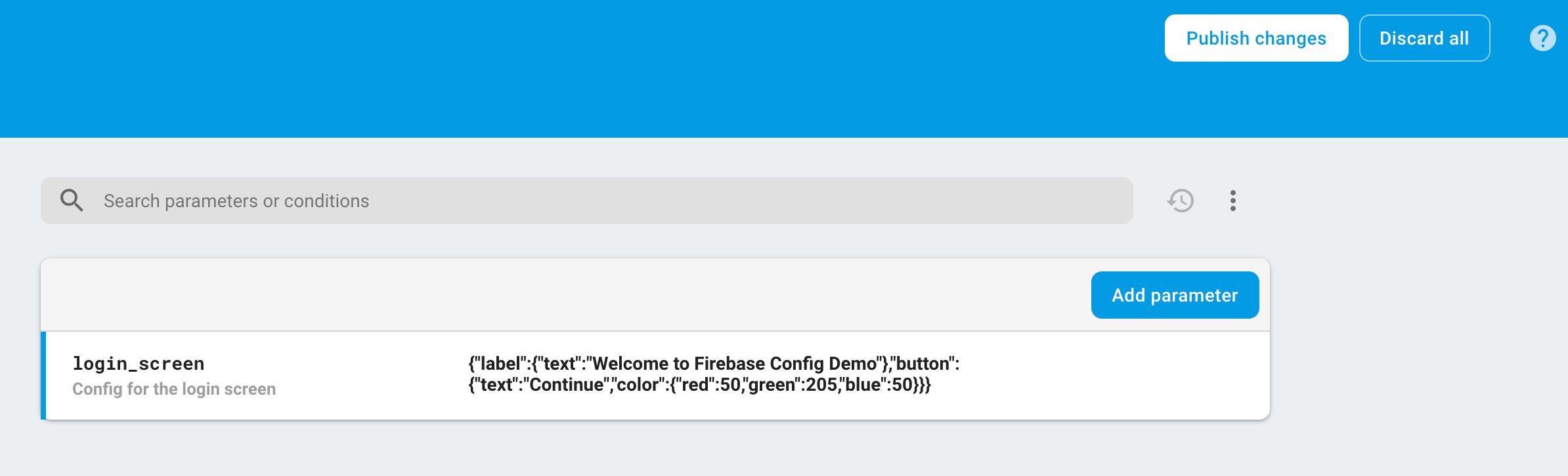 Remote Config publish screenshot