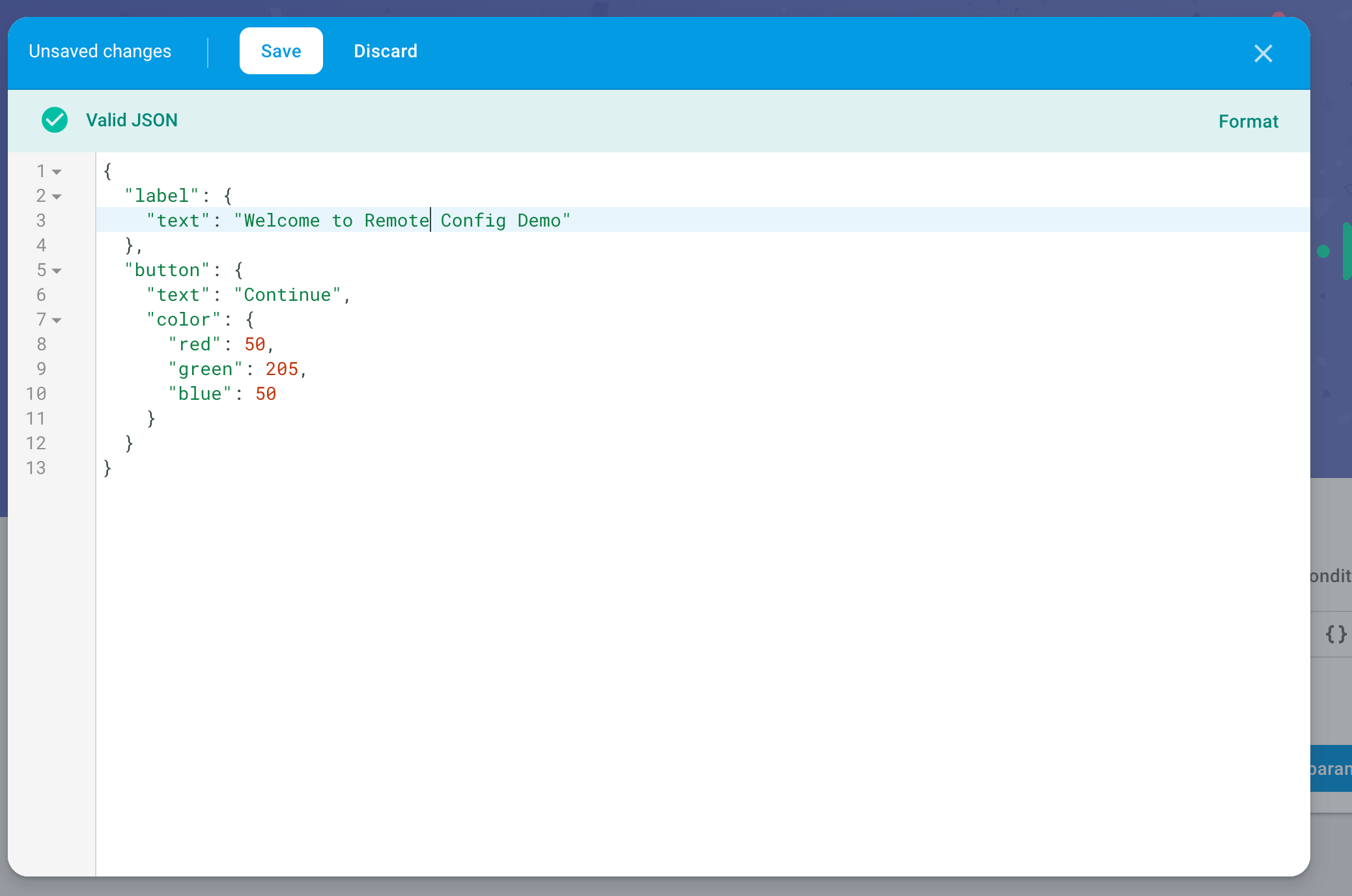 Remote Config with values screenshot