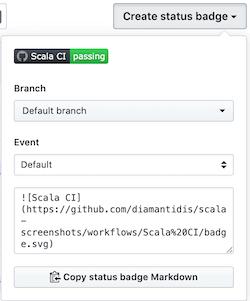 GitHub Actions create badge screenshot