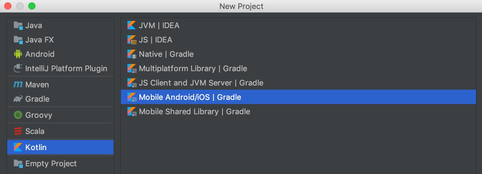 IntelliJ KMP projects screenshot