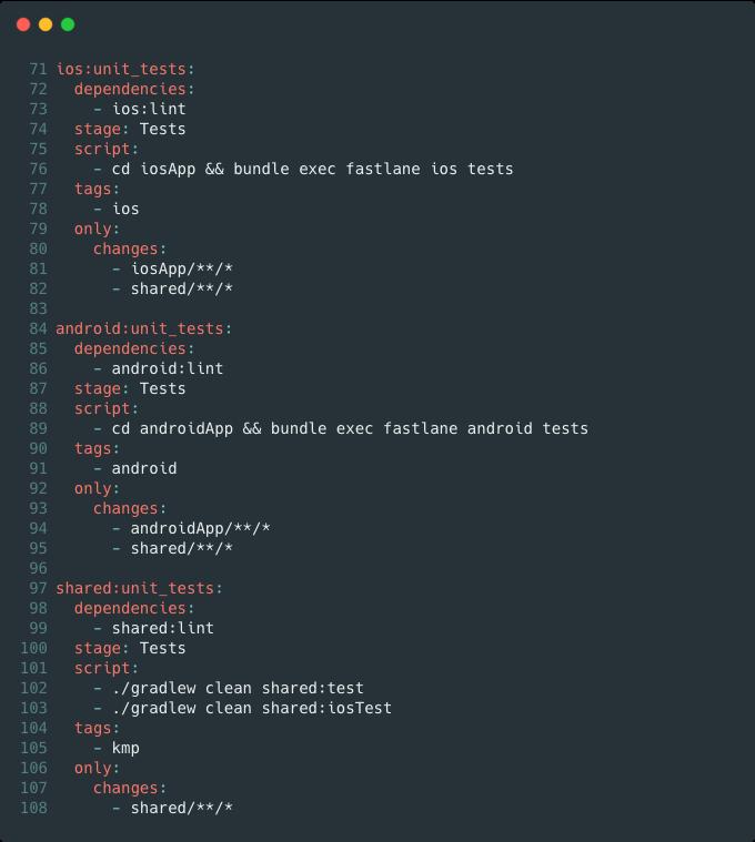 GitLab CI test stage screenshot