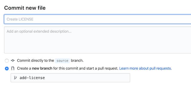License commit name screenshot