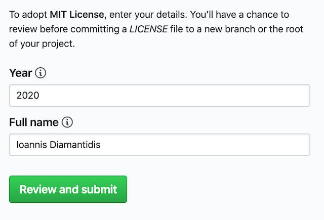 License fields screenshot