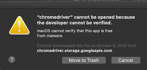 ChromeDriver security warning screenshot