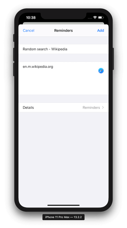 Reminders App Extension screenshot