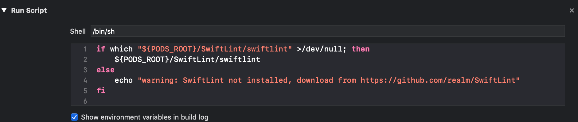 SwiftLint Run Script Phase screenshot